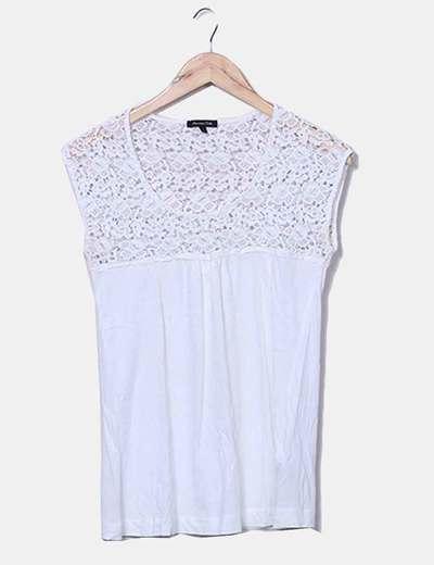 T-shirt blanc en dentelle Massimo Dutti