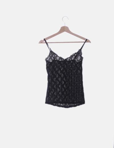 100% autenticado buena venta calidad autentica Camiseta negra lencera