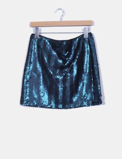 66c75001d Mini falda lentejuelas verde oscuro