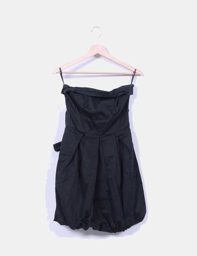 Vestido negro abullonado palabra de honor Suiteblanco