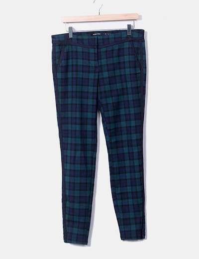 Pantalón capri con cuadros bicolor Suiteblanco