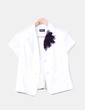 Conjunto chaqueta raso blanco y top terciopelo morado Roset Collection