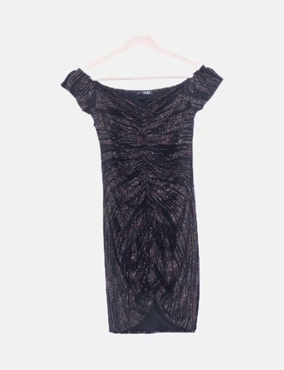 Vestido drapeado negro glitter
