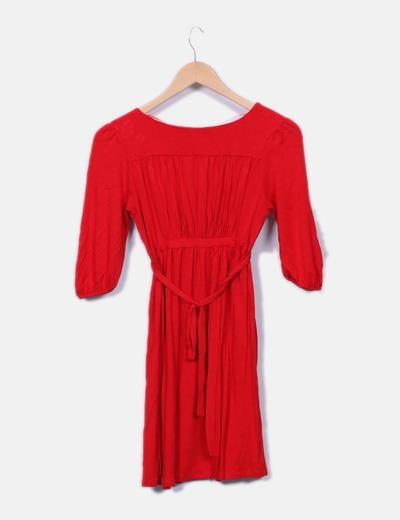 Vestido rojo zara manga francesa