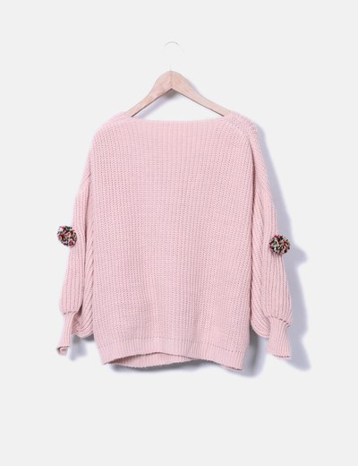 Jersey punto rosa pompones mangas farol