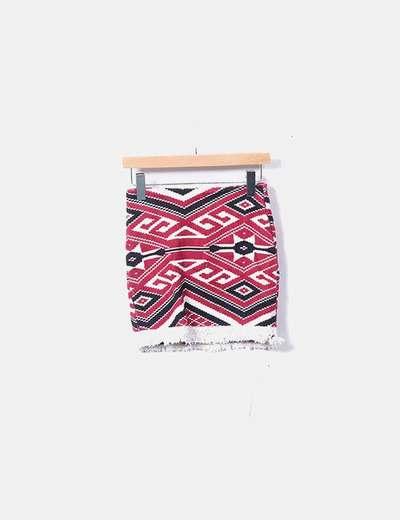 Mini falda étnica burdeos