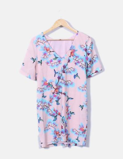 Vestido floral con escote trasero