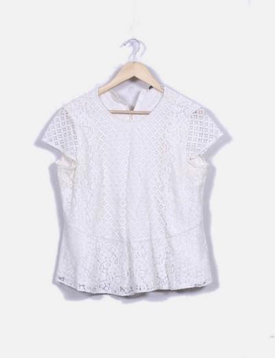Blusa peplum guipur marfil Zara