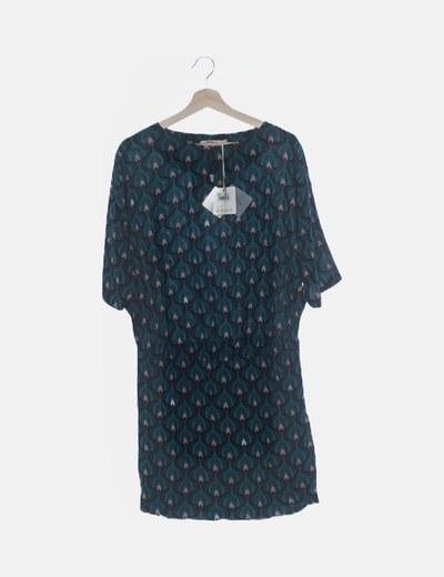 Vestido turquesa estampado vintage