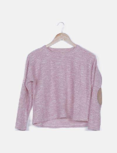 Jersey tricot rosa con coderas