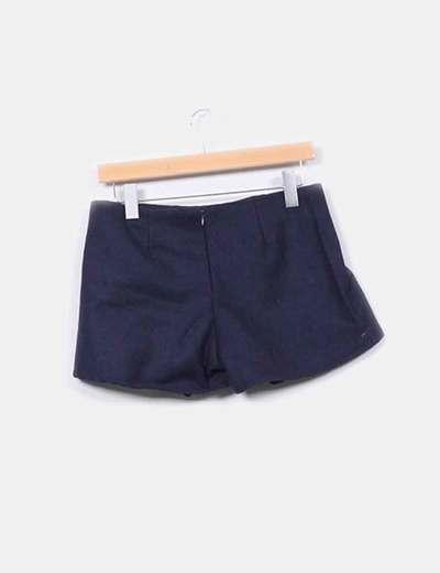 Mini falda pantalon azul marino pano