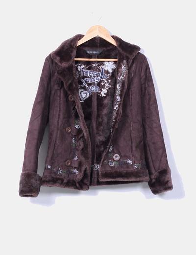 Abrigo marrón texturizado Desigual