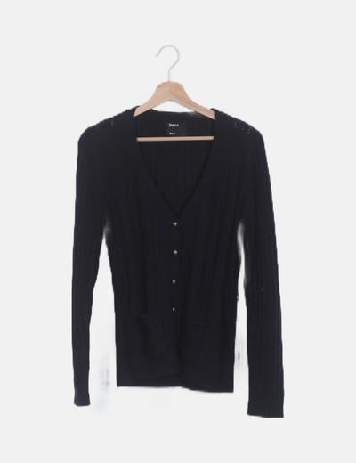 Chaqueta negra tricot ochos manga larga
