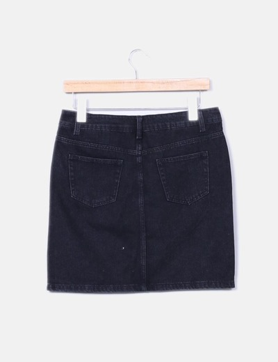 Mini falda denim negra