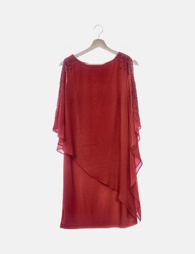 Vestido gasa rojo detalle abalorios