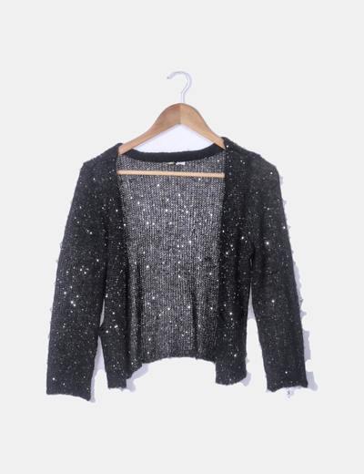 Chaqueta tricot negra paillettes