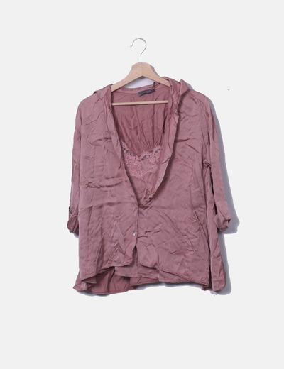 Blusa lencera satén rosa