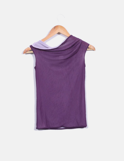 Blusa morada sin mangas