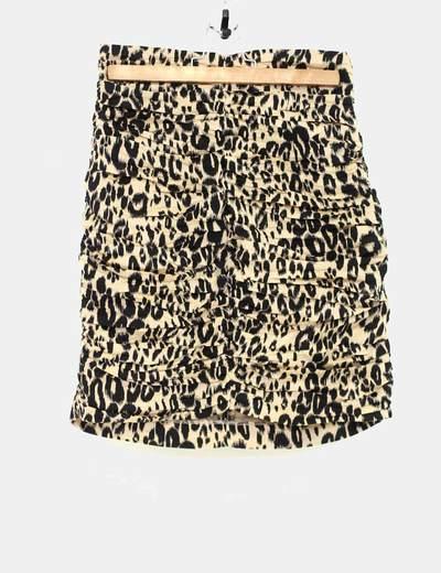 Falda leopardo fruncida cintura alta H&M trend