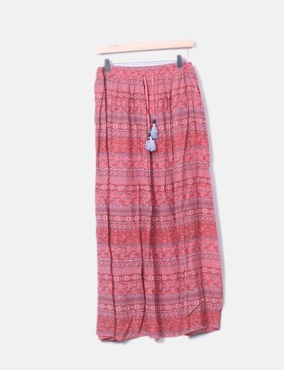 Maxi falda de vuelo en tonos rosas