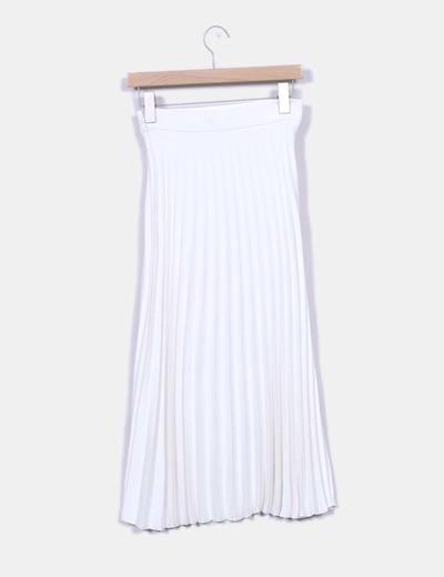 Zara Falda midi plisada blanca (descuento 72%) - Micolet 1694a62e7c19
