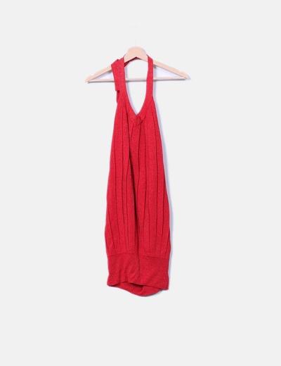 c9a470255 Suiteblanco Vestido rojo brillante cuello lace up (descuento 95 ...