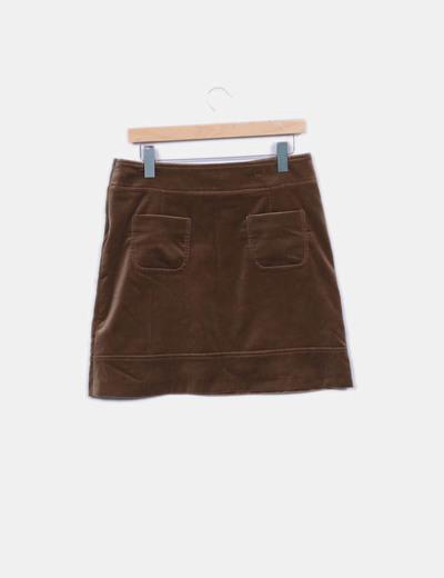 1ab4debc9 Pedro del Hierro Falda marrón terciopelo (descuento 95%) - Micolet
