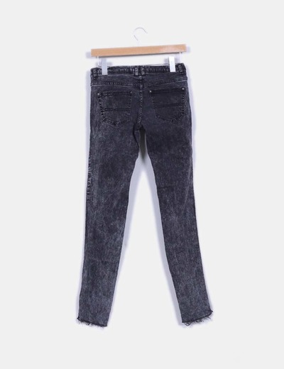 Pantalon denim negro con hilo metalizado