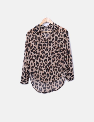 Camisa fluida semitransparente animal print