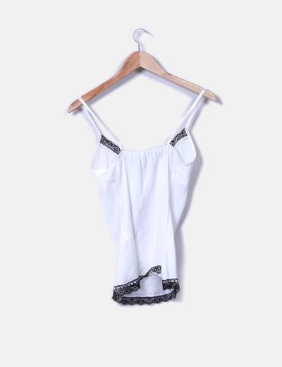 Top lencero saten blanco