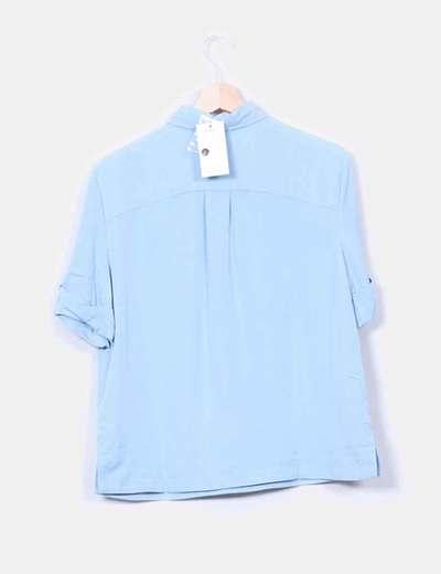Camisa fluida azul celeste manga corta