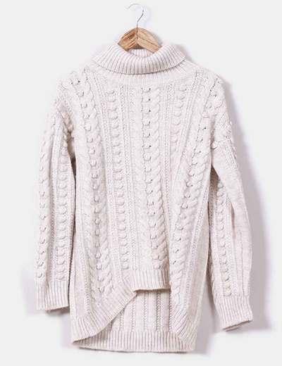 0cf4adb43851 Zara Home Jersey asimétrico de lana blanco crudo (descuento 69 ...