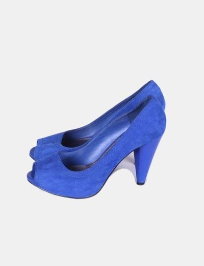 Zara Zapato peep toe azul klein de antelina (descuento 76% f47a1d8f84be