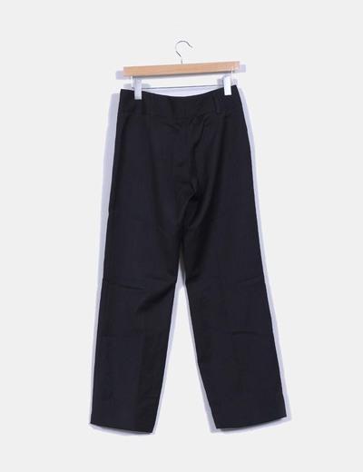 Pantalon negro recto estampado rayas