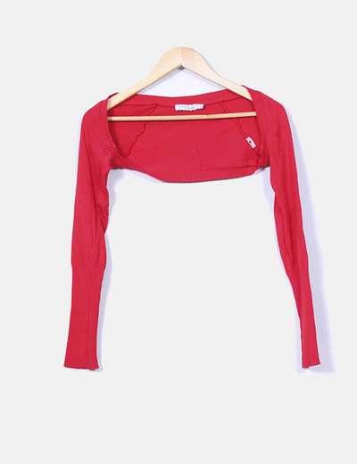 Chaqueta tricot roja Bershka