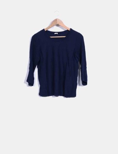 Suéter tricot azul marino mangas francesas Stradivarius