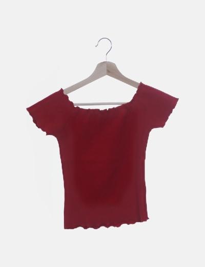 Camiseta tricot rojo cuello elástico