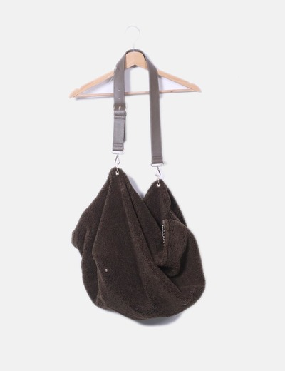 Bolso shopper con borrego kaki