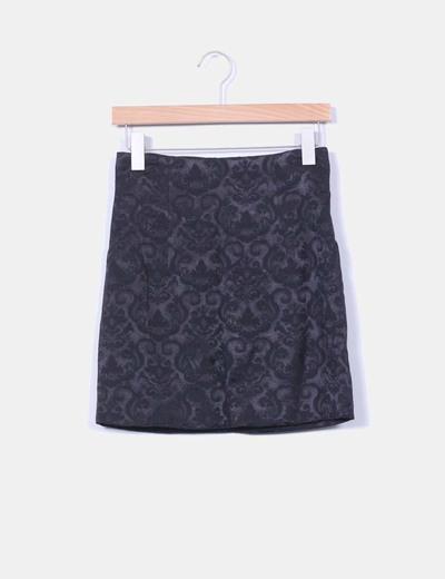 Falda negra estampada Suiteblanco