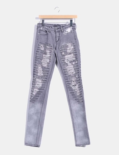 Pantalón denim gris ripped bordado H&M
