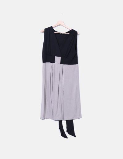 Vestido midi bicolor Tanna