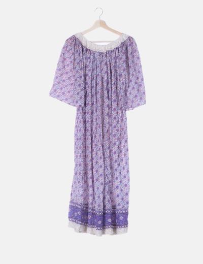 Maxi vestido floral morado
