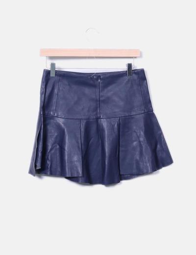 Mini falda polipiel azul marina