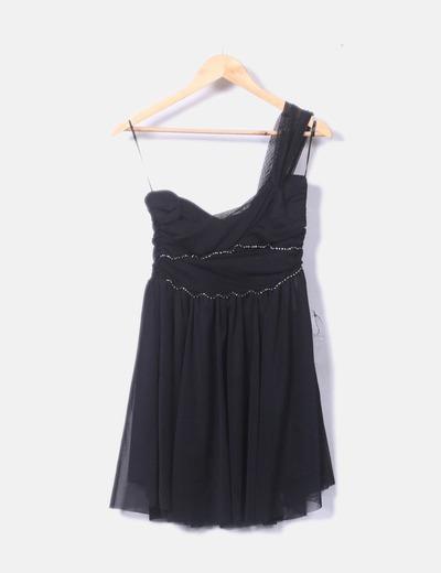 Vestido de fiesta negro de gasa con strass