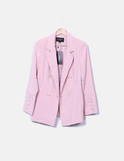 Blazer rosa botones perla Attentif