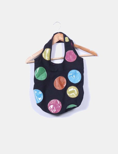 Bolso negro de tela con círculos multicolor NoName