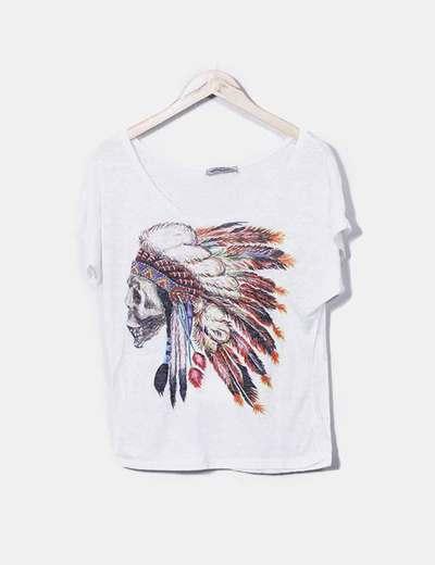 T-shirt blanc imprimé indien It Hippie