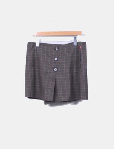 Conjunto de blazer y falda marron de cuadros
