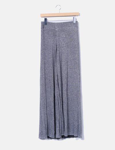 Pantalón recto tricot plateado Zara