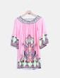 vestido rosa con estampado multicolor NoName